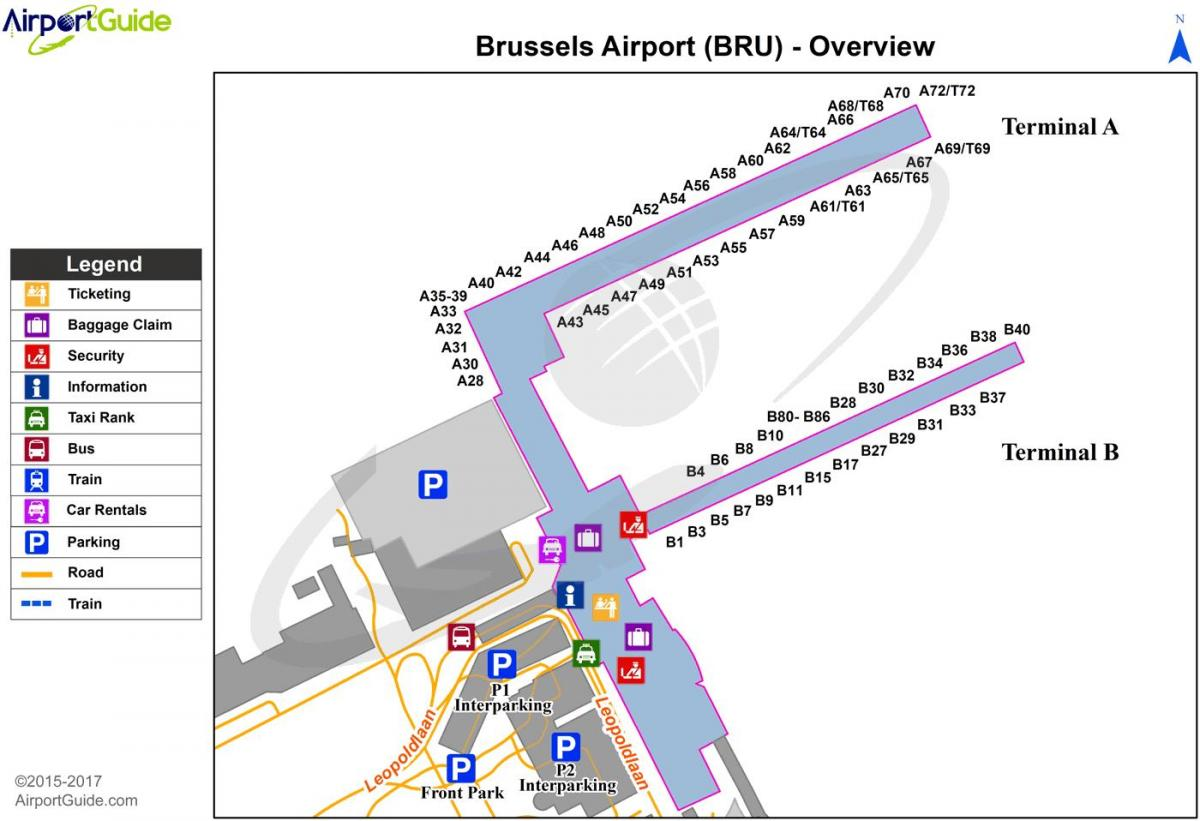 Brussels airports map