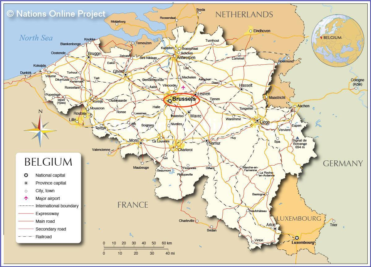 Brussels on Belgium map