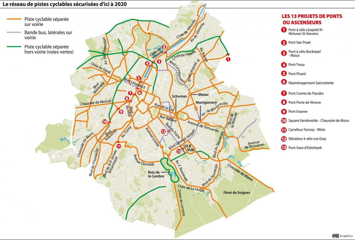 Brussels bike lane map