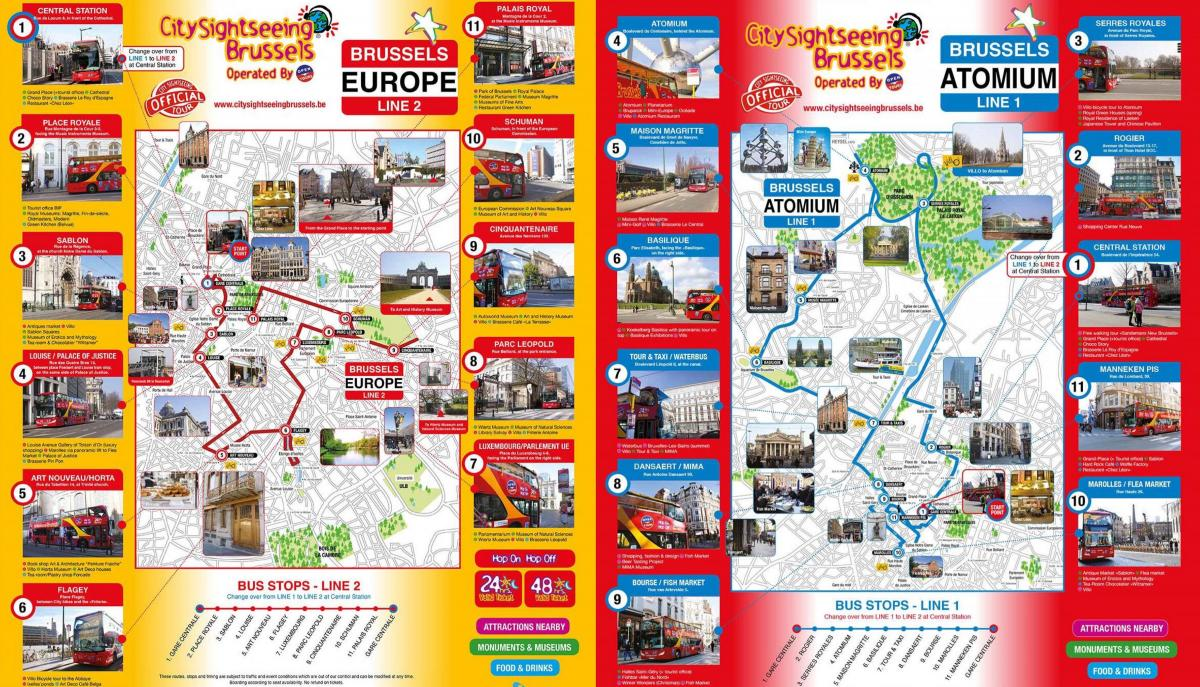 Brussels Hop On Hop Off bus tours map