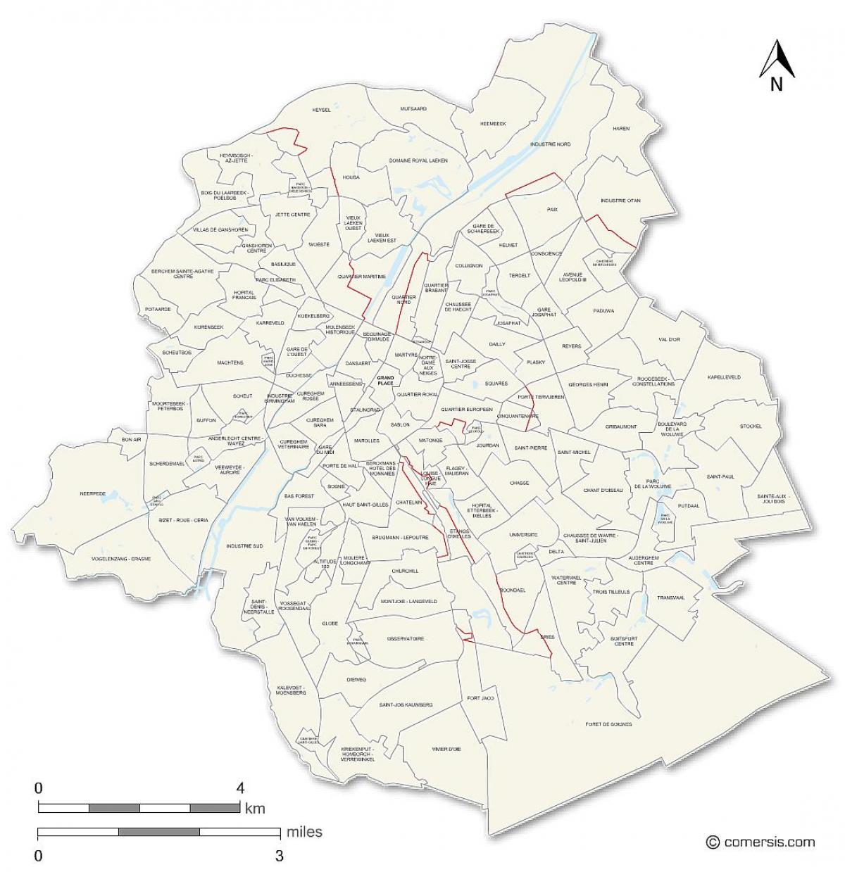 Brussels neighborhoods map