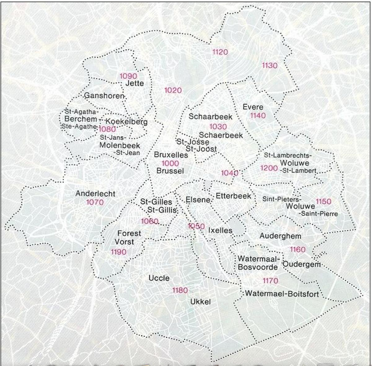 Brussels zip codes map